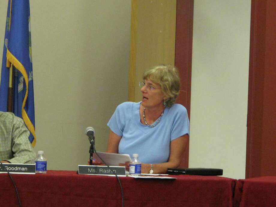The New Canaan Board of Education's Penny Rashin asks a question about the district goals at the July 22 BOE meeting. Photo: Tyler Woods