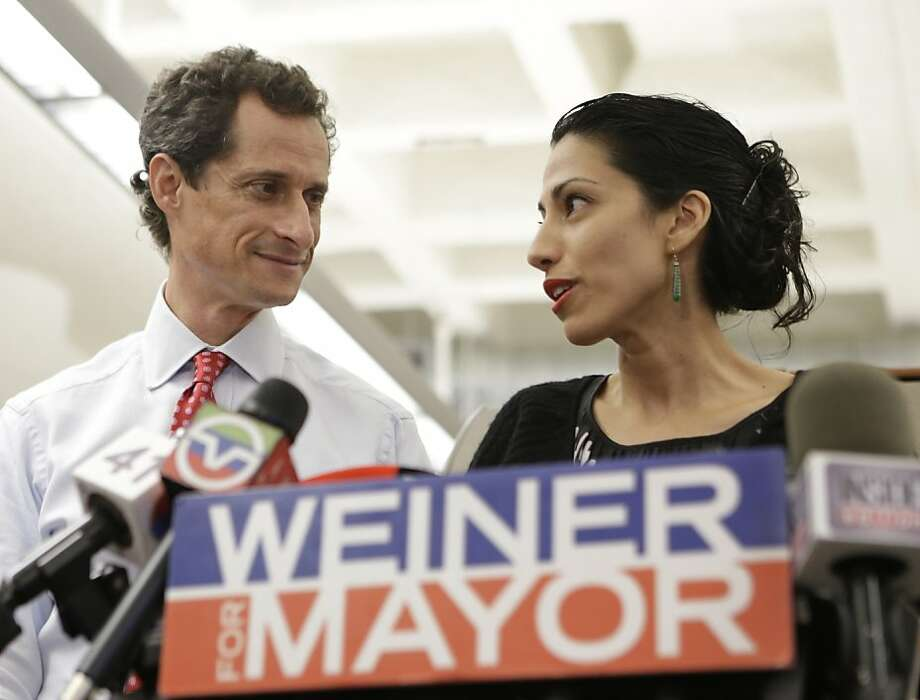 Huma Abedin, alongside her husband, New York mayoral candidate Anthony Weiner, in New York, says despite her husband's mistakes, she supports him. Photo: Kathy Willens, Associated Press