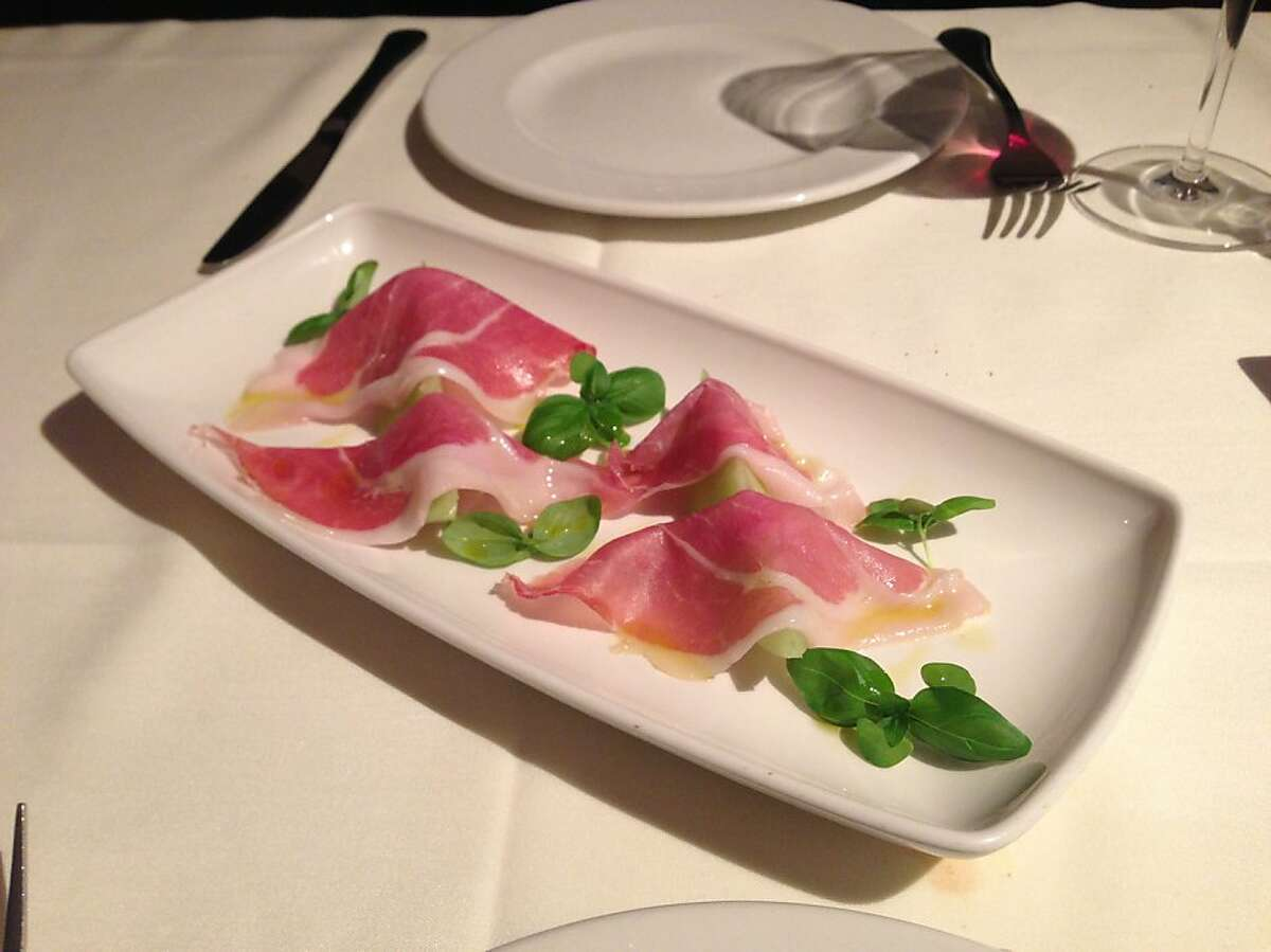 Two-year-old house-cured prosciutto at Poggio in Sausalito (July 2013)