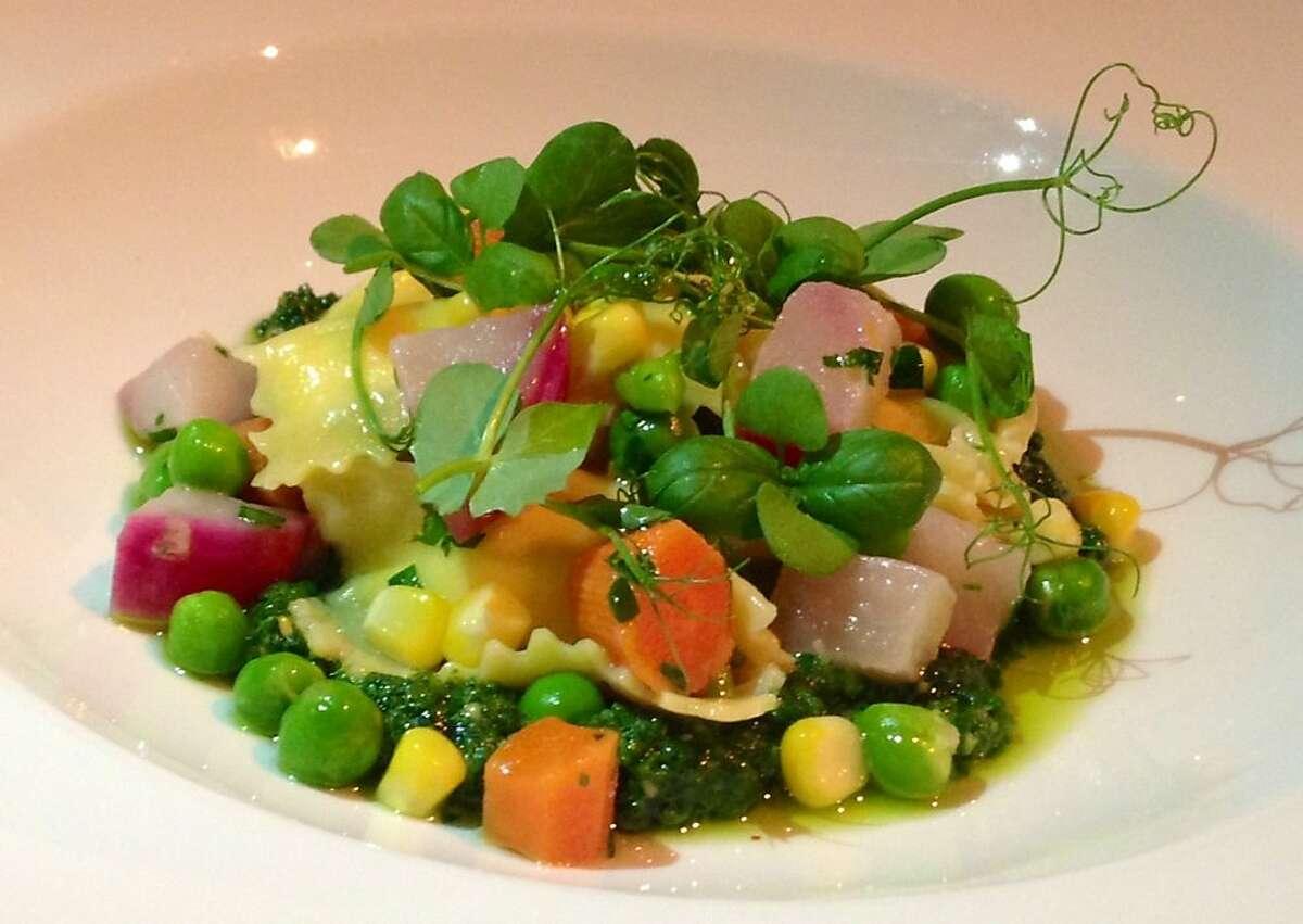 Agnolotti at Poggio in Sausalito -- fonduta-filled pasta with basil pesto and summer vegetables (July 2013)
