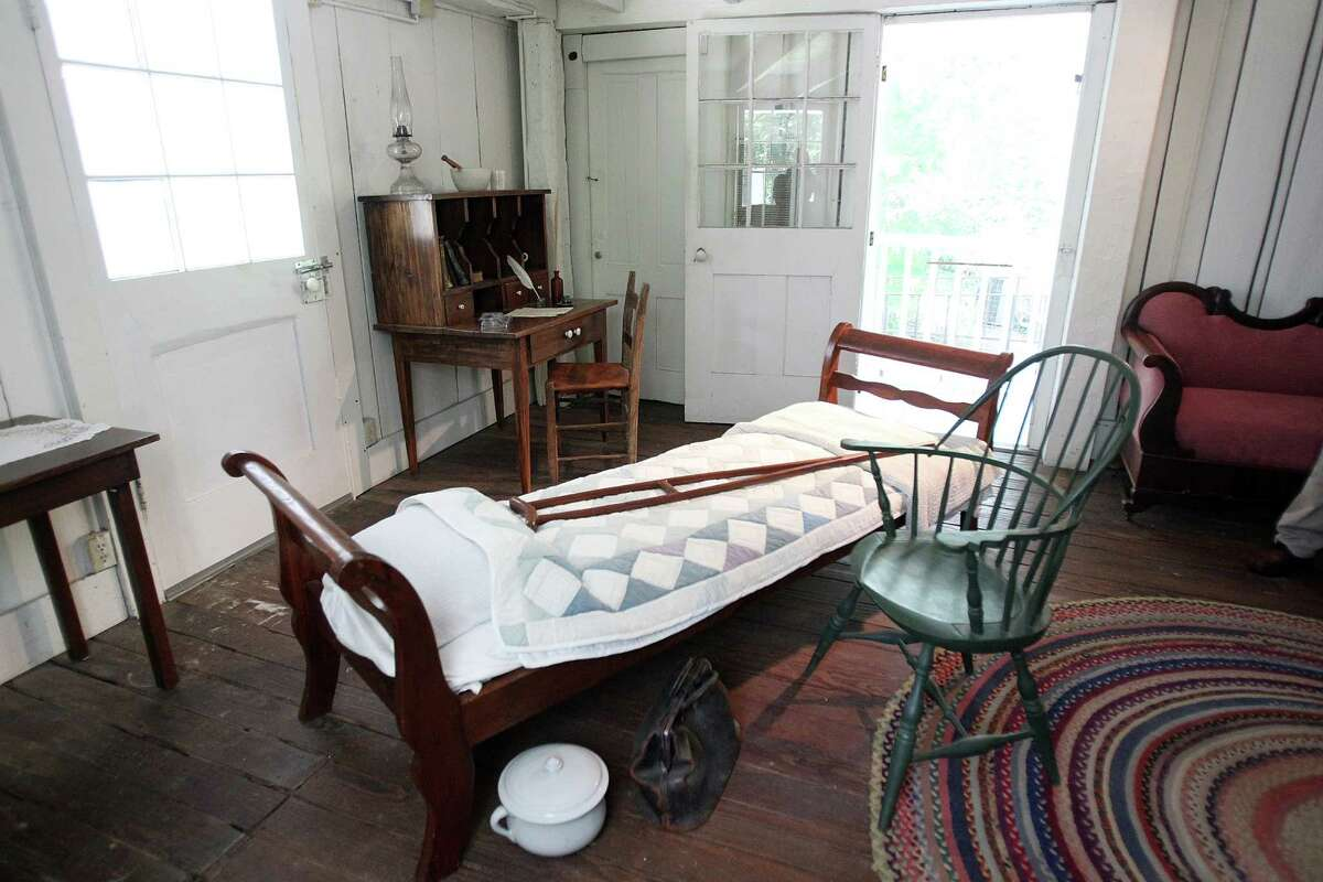 Sam Houston died in the Steamboat House where his crutch is still in place on the spot where he passed away.