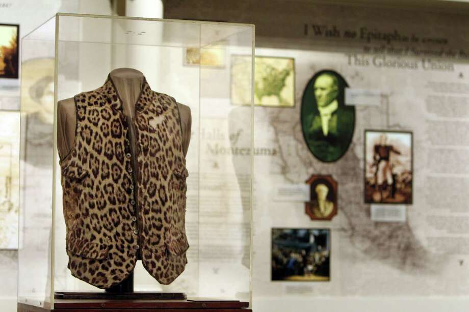 Leopard Skin (Jaguar) Vest on display at the Sam Houston Memorial Museum where many activities will be held to commemorate the 150th anniversary of Sam Houston's death. Photo: Mayra Beltran / © 2013 Houston Chronicle