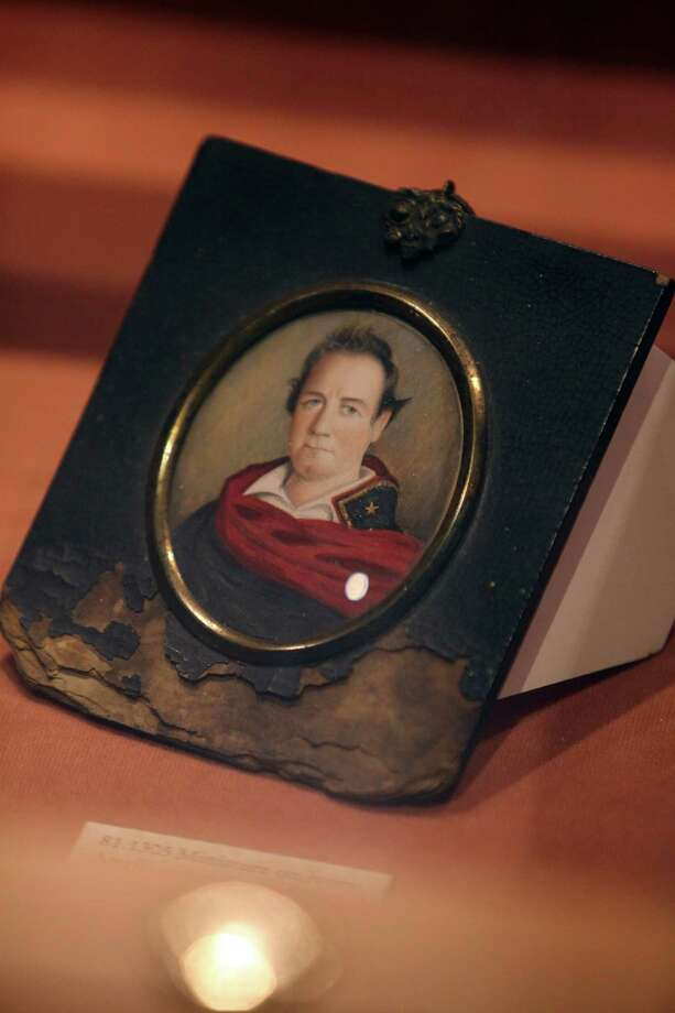 An ivory portrait miniature of General Houston in his Texas Army uniform done after the Battle of San Jacinto on display at the Sam Houston Memorial Museum. Photo: Mayra Beltran / © 2013 Houston Chronicle