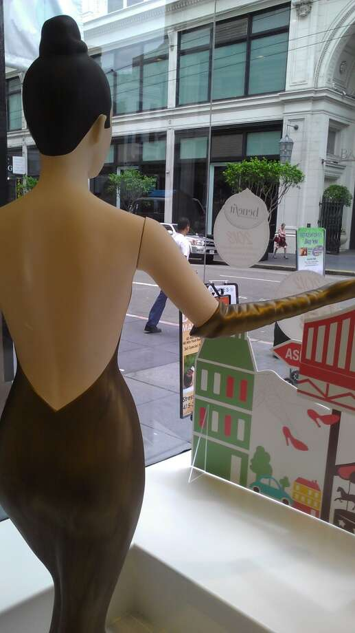 Simone the mannequin stands watch over the Benefit's new Sutter Street boutique. Photo: Carolyne Zinko, The Chronicle