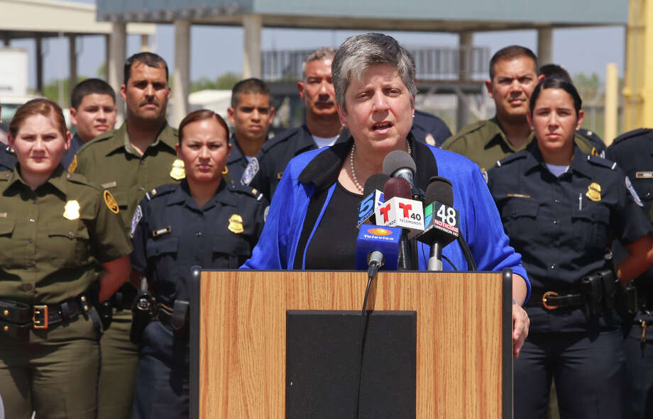 Homeland Security Secretary Janet Napolitano speaks during a brief stop at the Veterans International Bridge in Brownsvlle, Texas on Tuesday afternoon, July 23, 2013. The visit comes as Republicans in the U.S. House demand increased border security and fight a path to citizenship for 11 million people who have already entered the country illegally. (AP Photo/The Brownsville Herald, Yvette Vela) Photo: Yvette Vela, Associated Press / The Brownsville Herald