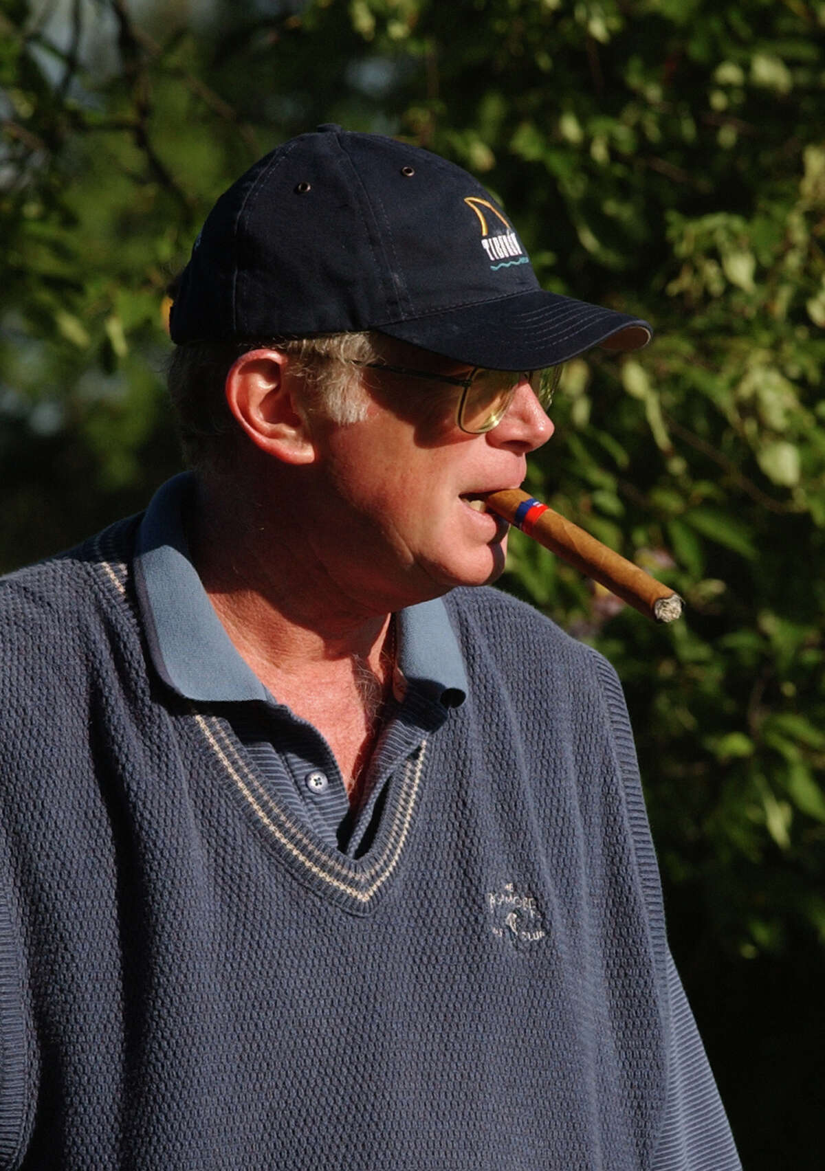 TIMES UNION STAFF PHOTO BY SKIP DICKSTEIN Charlie Murphy with his everpresent cigar at the first tee of the New York State Golf Association Senior Amateur held at the Normanside CC in Delmar New York September 16, 2003.
