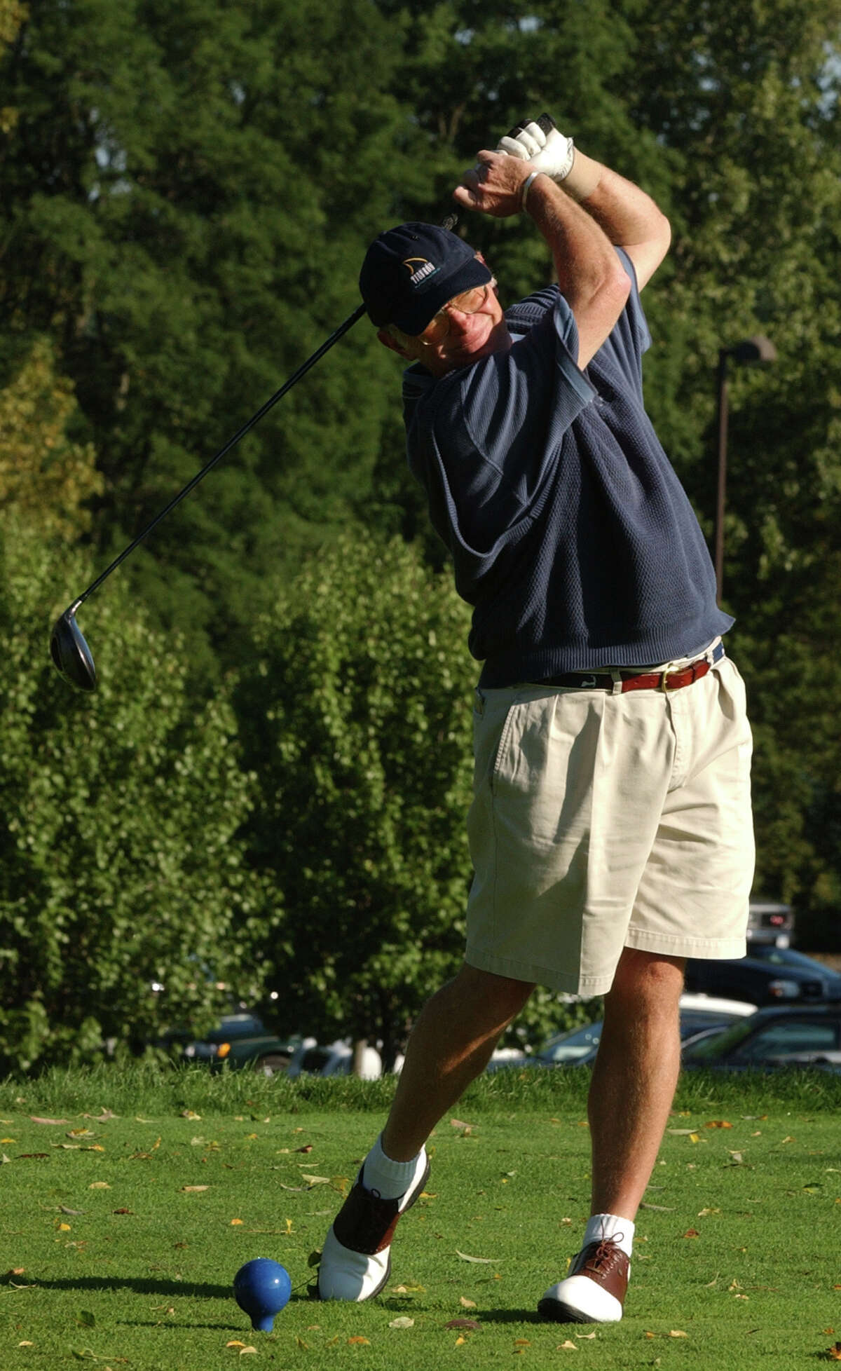 TIMES UNION STAFF PHOTO BY SKIP DICKSTEIN - Charlie Murphy of Wolferts Roost tees off at the first tee of the New York State Golf Association Senior Amateur held at the Normanside CC in Delmar New York September 16, 2003.