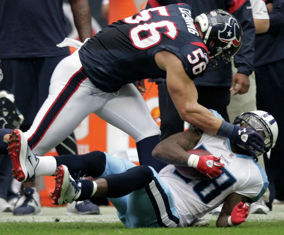 The Texans value the return of Brian Cushing (56) not only for what he will bring to the defense but the effect his presence will have on teammates. Photo: Brett Coomer, Staff / © 2012  Houston Chronicle