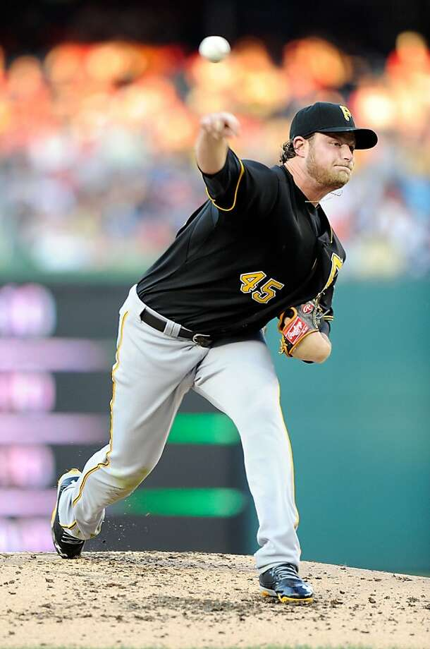 WASHINGTON, DC - JULY 23:  Gerrit Cole #45 of the Pittsburgh Pirates pitches in the second inning against the Washington Nationals at Nationals Park on July 23, 2013 in Washington, DC.  (Photo by Greg Fiume/Getty Images) Photo: Greg Fiume, Getty Images