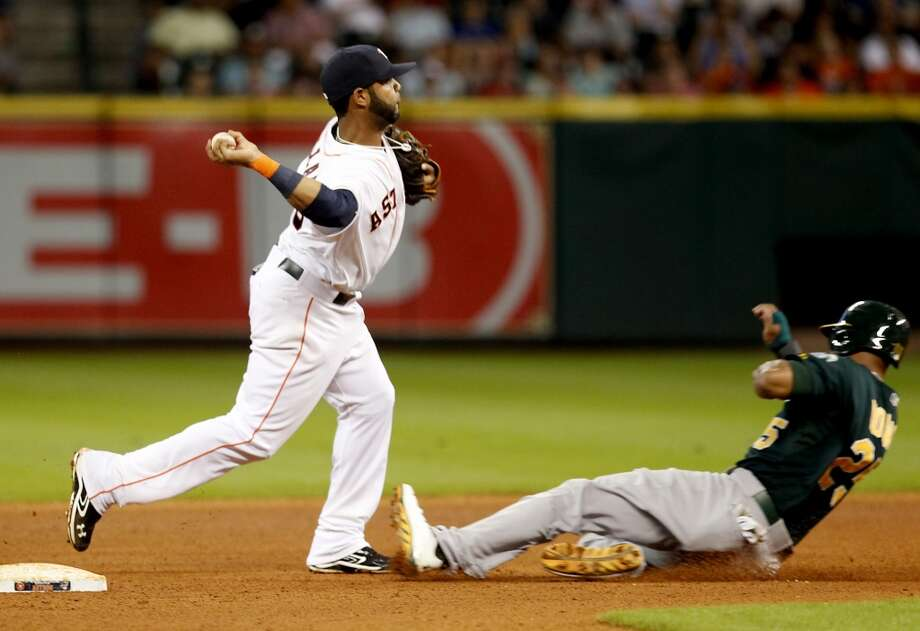 Astros shortstop Jonathan Villar turns a double play against the A's. Photo: Thomas B. Shea, For The Chronicle