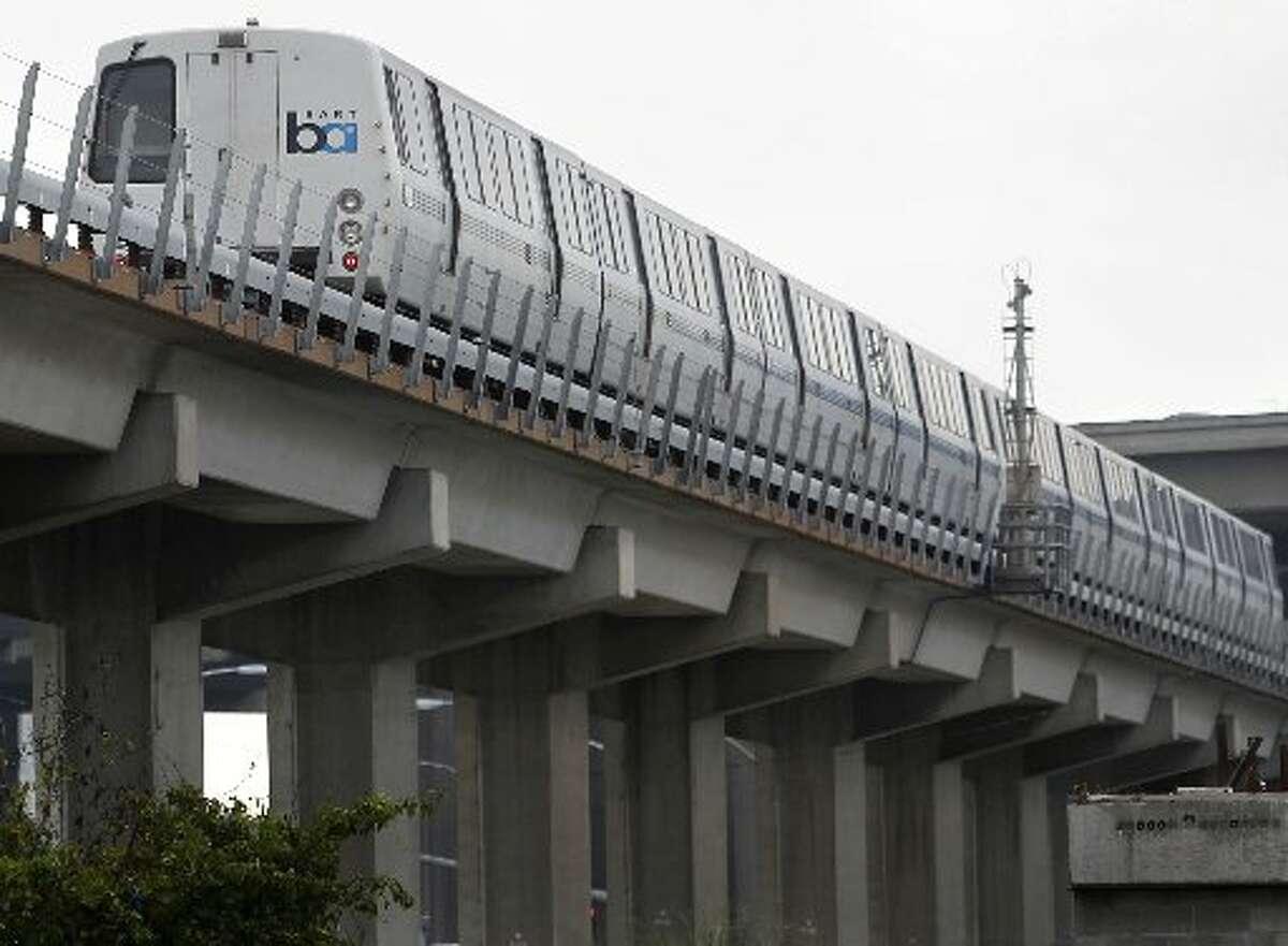 BART train rolls through West Oakland BART station, as a new strike threat looms. Chronicle photo by Paul Chinn