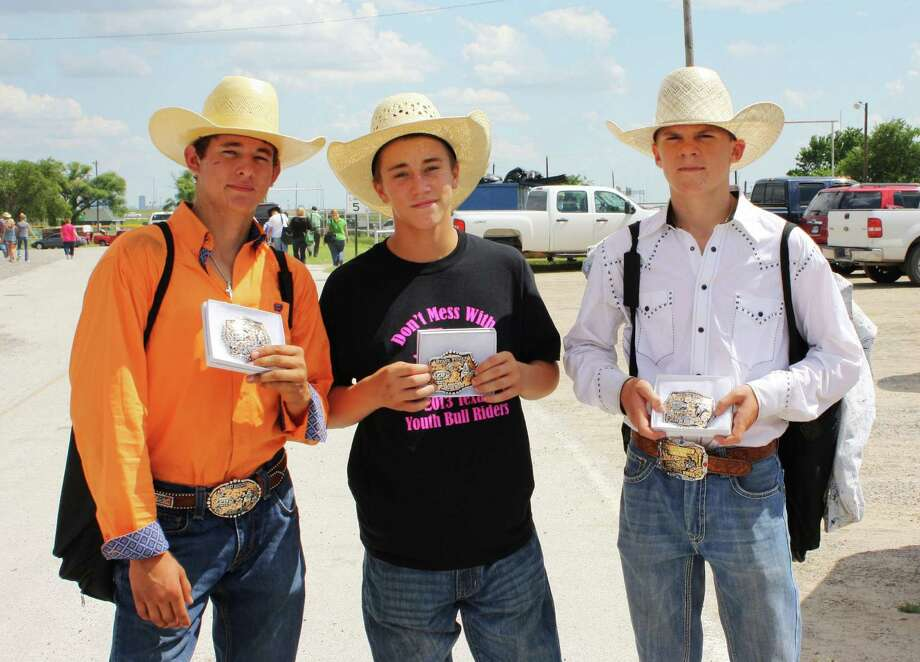 (from left to right) Garrett Jones, Laramie Craigen, and Logan Bottoms at the Texas Youth Bull Riders State Finals in Saginaw Photo: Courtesy Of Kimberly Jones