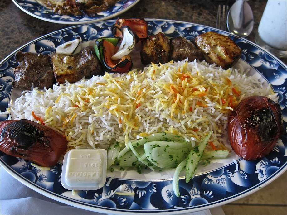 Beef and chicken kebab combo at Bijan Sugar Land. Photo by Alison Cook Photo: Alison Cook