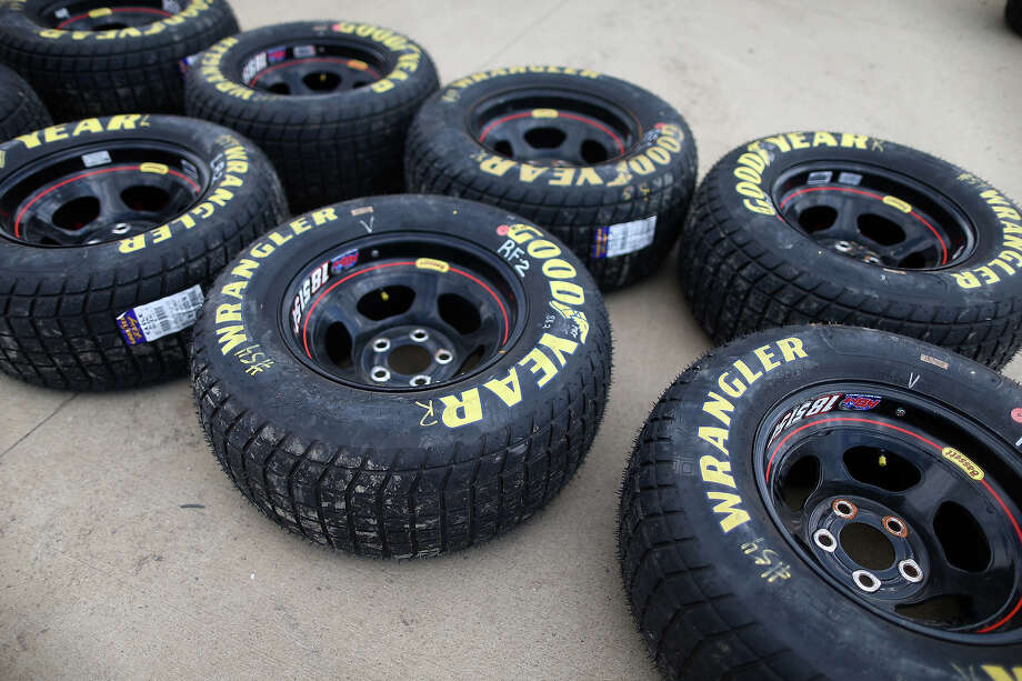 A detail view of the Goodyear Racing tire made for dirt track racing during practice for the NASCAR Camping World Truck Series inaugural CarCash Mudsummer Classic at Eldora Speedway on July 23, 2013 in Rossburg, Ohio. Photo: Chris Graythen, NASCAR Via Getty Images / 2013 NASCAR
