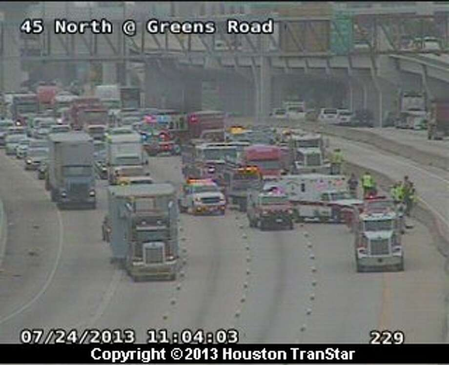 Traffic was slowed on the outbound North Freeway after a crash near Greens late Wednesday morning. Photo: Houston TranStar