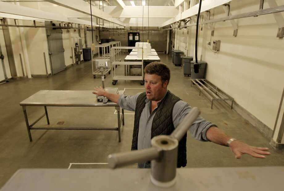 Marin Sun Farms, owner David Evans inside the main meat processing room. Photo: Michael Macor, San Francisco Chronicle