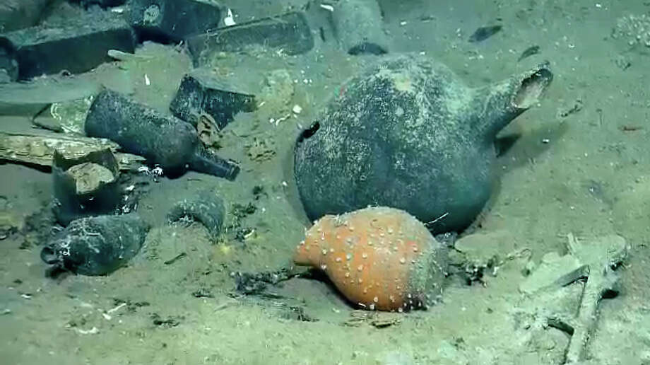Items and sea life found in a Gulf shipwreck being explored by Texas A&M University at Galveston research scientists and National Oceanic and Atmospheric Administration experts. (Ocean Exploration Trust/Meadows Center for Water and the Environment at Texas State Universityphoto)
