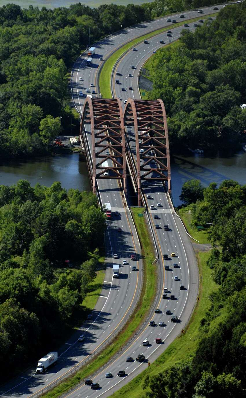 Aerial view of the Thaddeus Kosciuszko Bridge (twin bridges) on the Northway, looking north as seen Thursday, July 10, 2008, from Colonie, N.Y. (Philip Kamrass/Times Union archive)