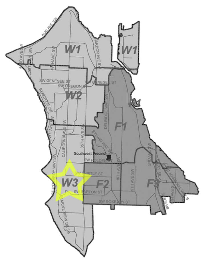 21. W3: Seattle police in this West Seattle area beat have responded to 464 reports of car break-ins since June 2010. Photo: Seattle Police Department Maps