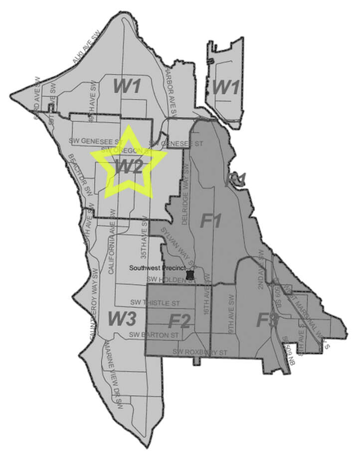 31. W2: Seattle police in this West Seattle area beat have responded to 394 reports of car break-ins since June 2010. Photo: Seattle Police Department Maps