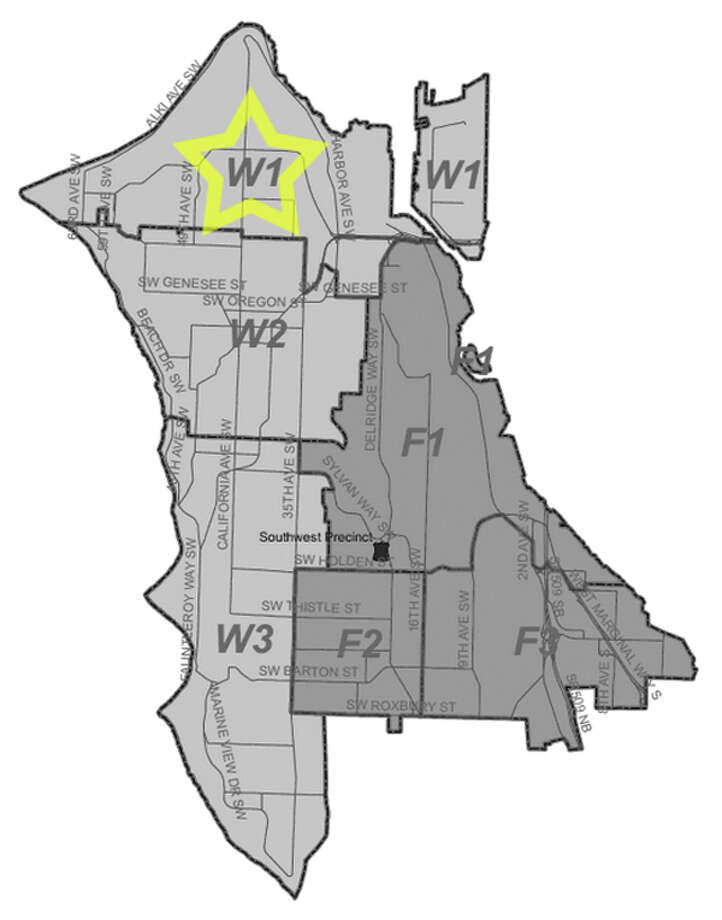 35. W1: Seattle police in this Alki area beat have responded to 339 reports of car break-ins since June 2010. Photo: Seattle Police Department Maps