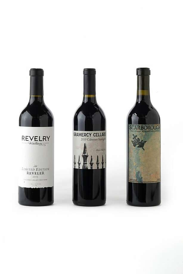Left-right: 2010 Revelry Vintners The Limited Edition Reveler, 2010 Gramercy Cellars Cabernet Sauvignon, 2010 Scarborough Royale as seen in San Francisco, California, on July 17, 2013. Photo: Craig Lee, Special To The Chronicle