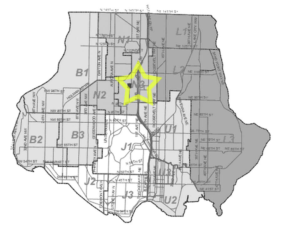 12. N3: Seattle police in this Maple Leaf area beat have responded to 593 reports of car break-ins since June 2010. Photo: Seattle Police Department Maps