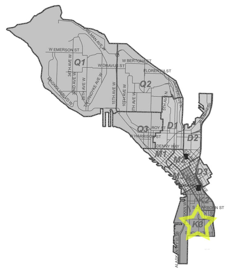 3. K3: Seattle police in this Sodo area beat have responded to 809 reports of car break-ins since June 2010. Photo: Seattle Police Department Maps
