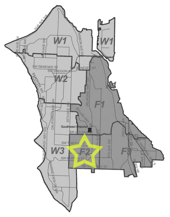 42. F2: Seattle police in this Roxhill area beat have responded to 271 reports of car break-ins since June 2010. Photo: Seattle Police Department Maps