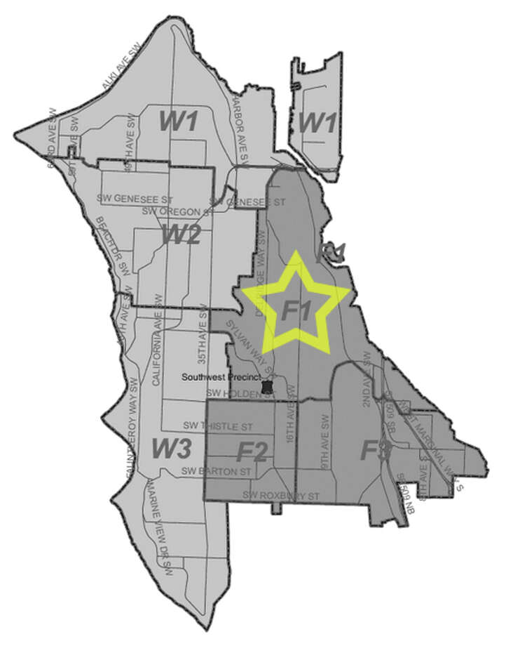 45. F1: Seattle police in this Dellridge area beat have responded to 239 reports of car break-ins since June 2010. Photo: Seattle Police Department Maps