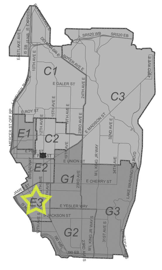 36. E3: Seattle police in this First Hill beat have responded to 322 reports of car break-ins since June 2010. Photo: Seattle Police Department Maps