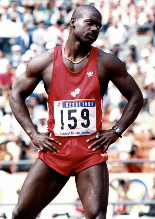 Gold medalist Ben Johnson of Canada during the Seoul Olympic Games. Johnson was stripped of his medal and disqualified for taking drugs by the International Olympic Committee. He was the seventh athlete and third gold medalist to test positive at the Seoul Games. Photo: AFP, AFP/Getty Images / 2003 AFP