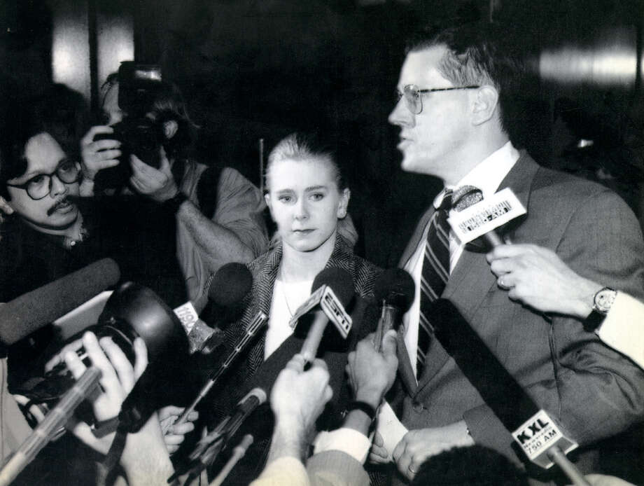 U.S. Figure Skater Tonya Harding is surrounded by reporters and photographers after being questioned by the FBI and the district attorney in Portland, Oregon. The U.S. Figure Skating Association stripped Harding of her 1994 national championship and banned her for life on June 30, 1994, because of the attack on rival Nancy Kerrigan. Photo: AP / FILE PHOTO