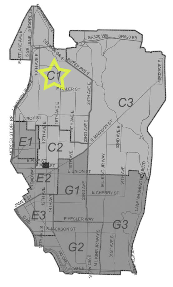 11. C1: Seattle police in this north Capitol Hill/Eastlake area beat have responded to 57 reports of stolen bicycles in the past three years. Photo: Seattle Police Department Maps