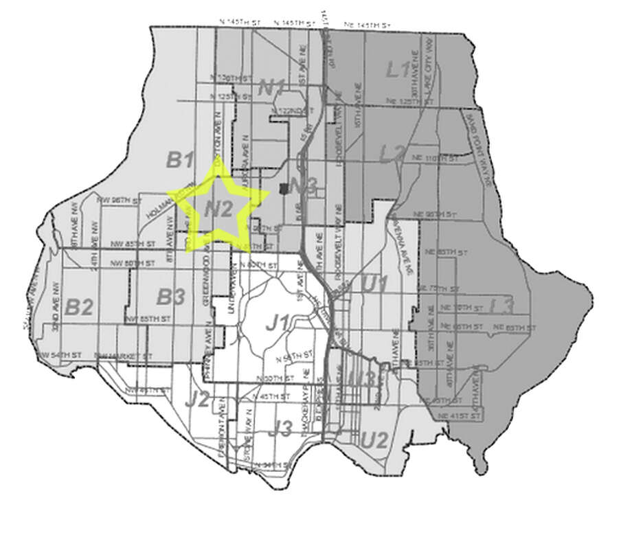 33. N2: Seattle police in this Greenwood area beat have responded to 25 reports of stolen bicycles in the past three years. Photo: Seattle Police Department Maps