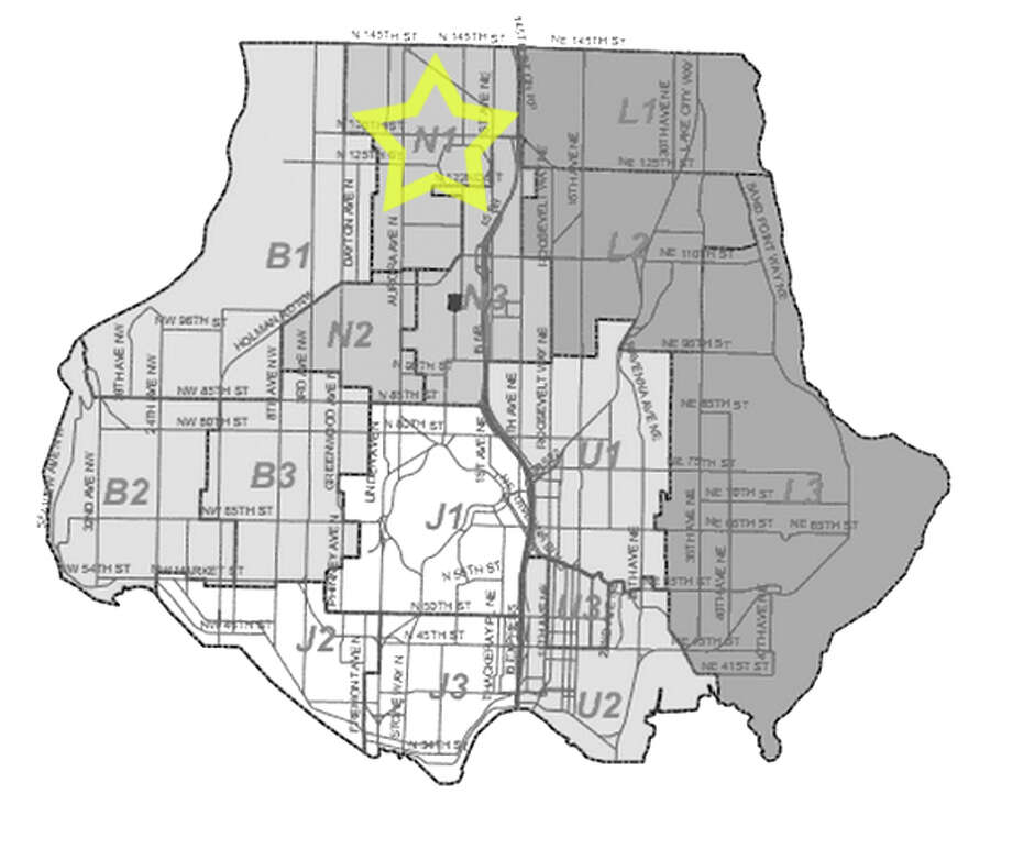 24. N1: Seattle police in this Haller Lake area beat have responded to 35 reports of stolen bicycles in the past three years. Photo: Seattle Police Department Maps