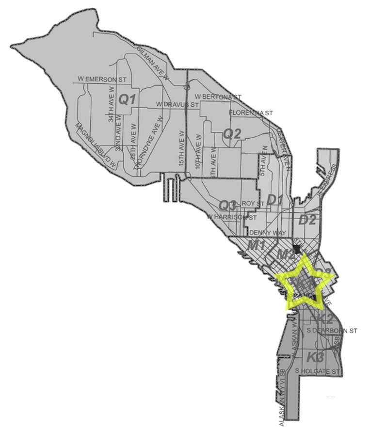 9. K1: Seattle police in this downtown Seattle beat have responded to 61 reports of stolen bicycles in the past three years. Photo: Seattle Police Department Maps