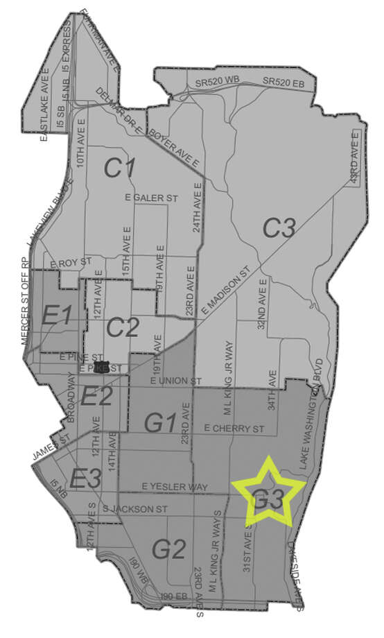 35. G3: Seattle police in this Central District beat have responded to 22 reports of stolen bicycles in the past three years. Photo: Seattle Police Department Maps
