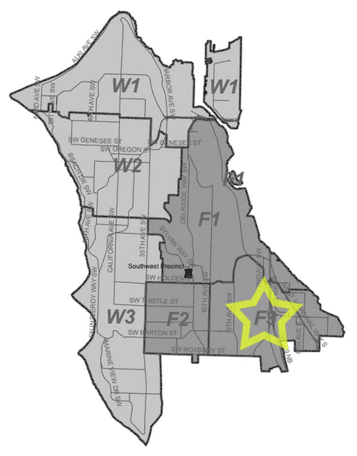 47. F3: Seattle police in this Highland Park area beat have responded to 15 reports of stolen bicycles in the past three years. Photo: Seattle Police Department Maps