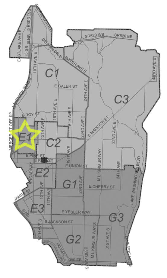8. E1: Seattle police in this Capitol Hill beat have responded to 76 reports of stolen bicycles in the past three years. Photo: Seattle Police Department Maps