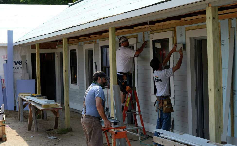 Workers continue to work on Building 90, a new dormitory at the Oklahoma Training Center in Saratoga Springs, N.Y. (Skip Dickstein/Times Union)