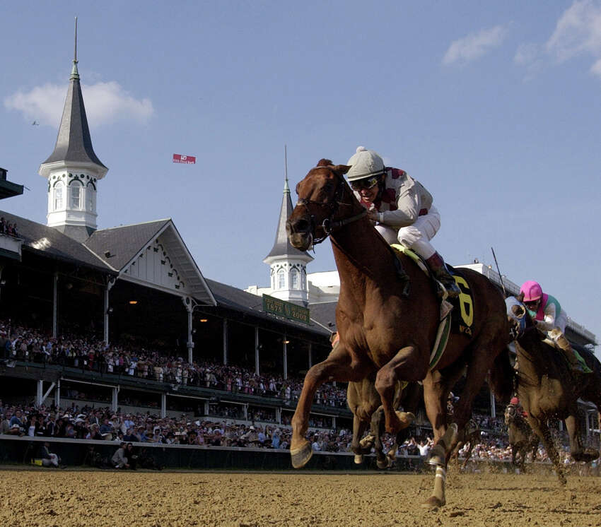 Funny Cide with Jose Santos in the irons reacts to winning his first Kentucky Derby at Churchill Downs in Louisville Kentucky May 3, 2003. (Skip Dickstein/Times Union archive)