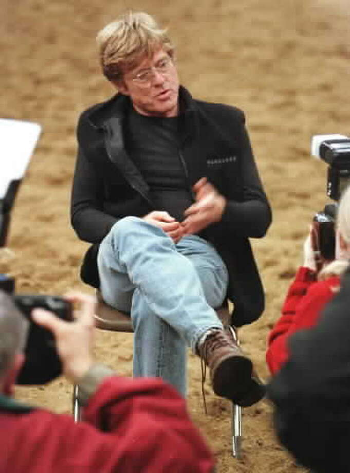 "Robert Redford on the set in Ballston Spa during production of ""The Horse Whisperer"""