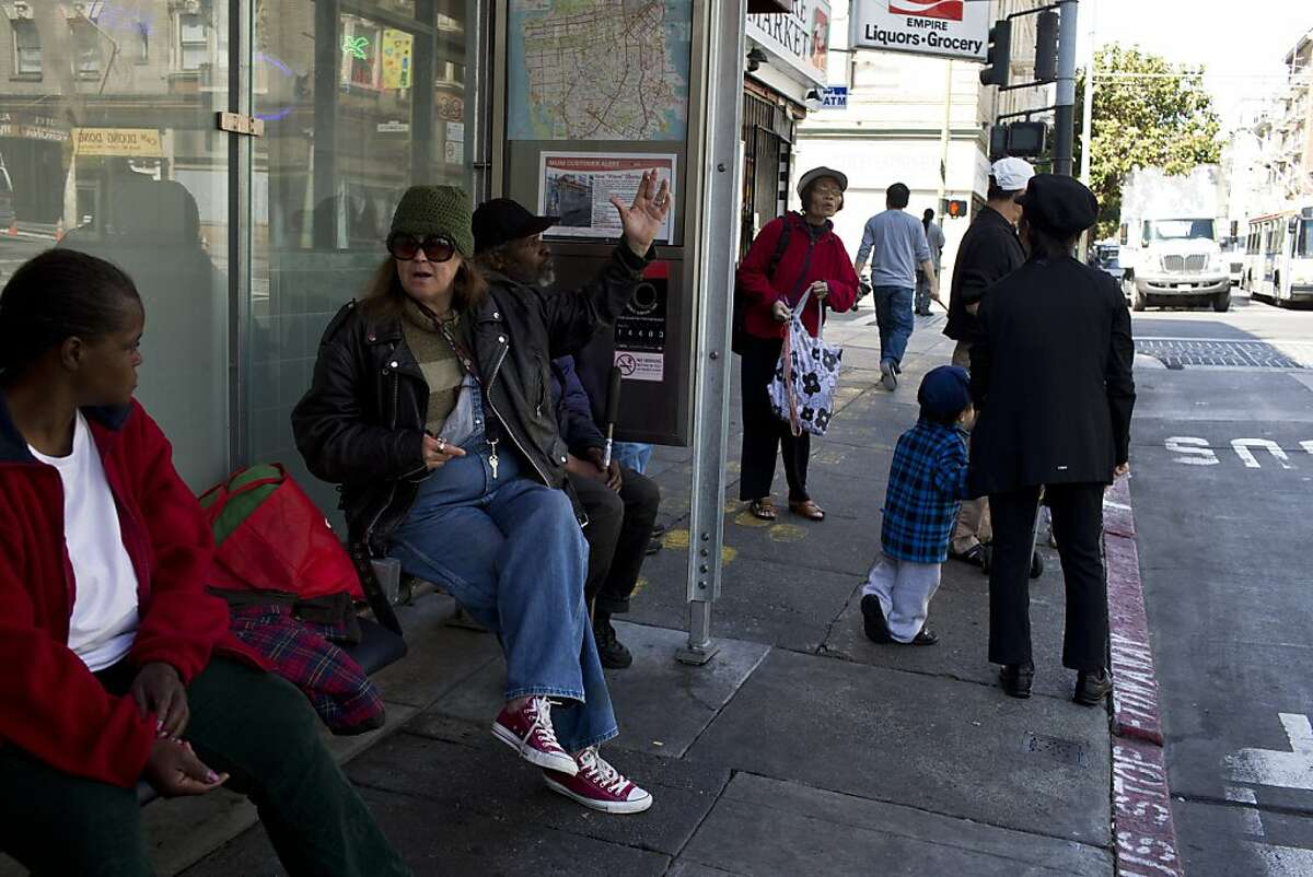 The bus stop with the highest crime rate in the city at the corner of Leavenworth and Eddy Streets in San Francisco, Calif., Wednesday, July 24, 2013.