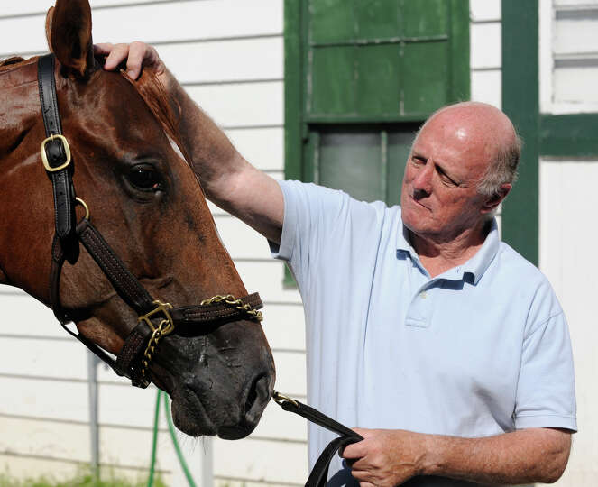 Trainer Leroy Jolley works with one of his charges at the Stakes Barn Sept. 2, 2009, at Saratoga Rac