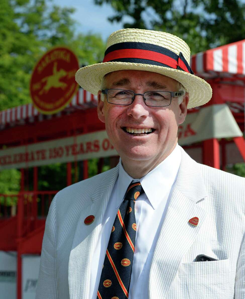 Charles Wait, chairman of the Saratoga 150 Celebration, stands near the clubhouse at Saratoga Race Course Friday, July, 19, 2013, in Saratoga Springs, N.Y. (Skip Dickstein/Times Union)