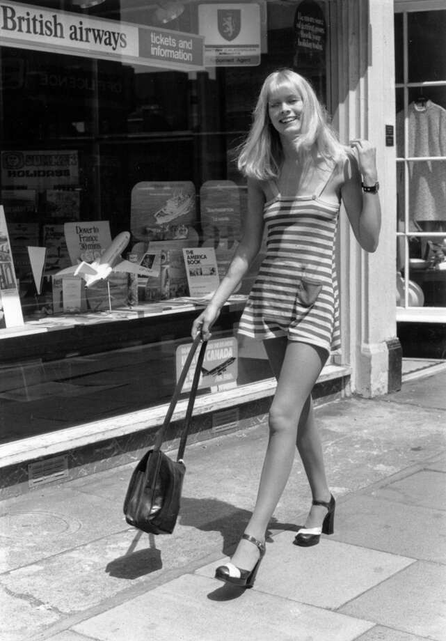 21-year-old model Rosemary Clarke walking along the King's Road in Chelsea, London in 1974. Photo: Sydney O'Meara, Getty Images