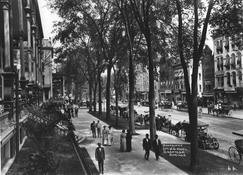 **MANDATORY CREDIT** Photo Courtesy of the George S. Bolster Collection of the Historical Society of Saratoga Springs -- Photographer, J.S. Wolley -- Looking North up Broadway with the United States Hotel on the left in this 1907 photo.