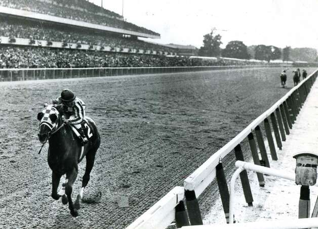 Secretariat wins the 1973 Belmont Stakes by 31 lengths to become Triple Crown Champion, June 9, 1973, at Belmont Park in Elmont, N.Y. (Photo Communications/Times Union archive)