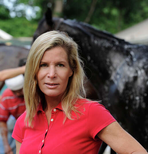 Trainer Linda Rice in her barn area at the Saratoga Race Course in Saratoga Springs, New York July 2